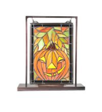 "Meyda Tiffany 65267 - 9.5""W X 10.5""H Jack O'Lantern Lighted Mini Tabletop Window"