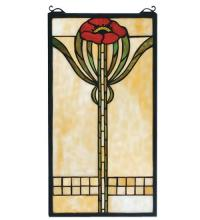 "Meyda Tiffany 67789 - 11""W X 20""H Parker Poppy Stained Glass Window"