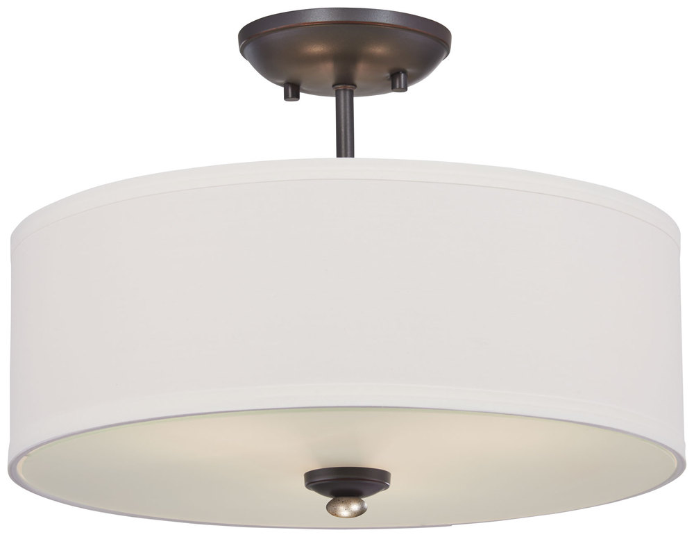 Wolberg Electrical Supply Inc in Albany, New York, United States, Minka-Lavery 3286-589, 3 Light Semi Flush Mount in Lathan Bronze w/White Linen Fabric Shade, Shadowglen