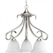 Progress P4405-09 - Three Light Brushed Nickel Etched Glass Down Chandelier