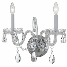 Crystorama 1032-CH-CL-MWP - Crystorama Traditional Crystal 2 Light Clear Crystal Chrome Sconce I