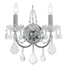 Crystorama 3222-CH-CL-MWP - Crystorama Imperial 2 Light Clear Crystal Chrome Sconce