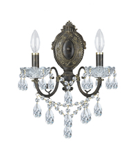Crystorama 5192-EB-CL-MWP - Crystorama Legacy 2 Light Clear Crystal Bronze Sconce