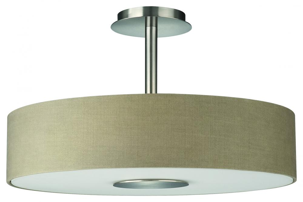 Wolberg Electrical Supply Inc in Albany, New York, United States, Forecast 374811748, Three Light Etched Glass Matte Chrome Dark Beige Fabric Shade Drum Shade Semi-Flush Mount, Dani
