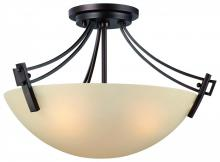 Thomas 190113704 - Three-light semi-flushmount fixture in Espresso finish with painted champagne  glass.