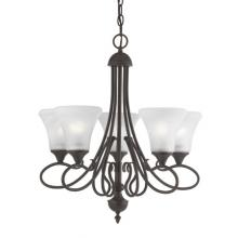 Thomas SL811563 - Five-light chandelier in Painted Bronze Finish with swirl alabaster style glass shades.