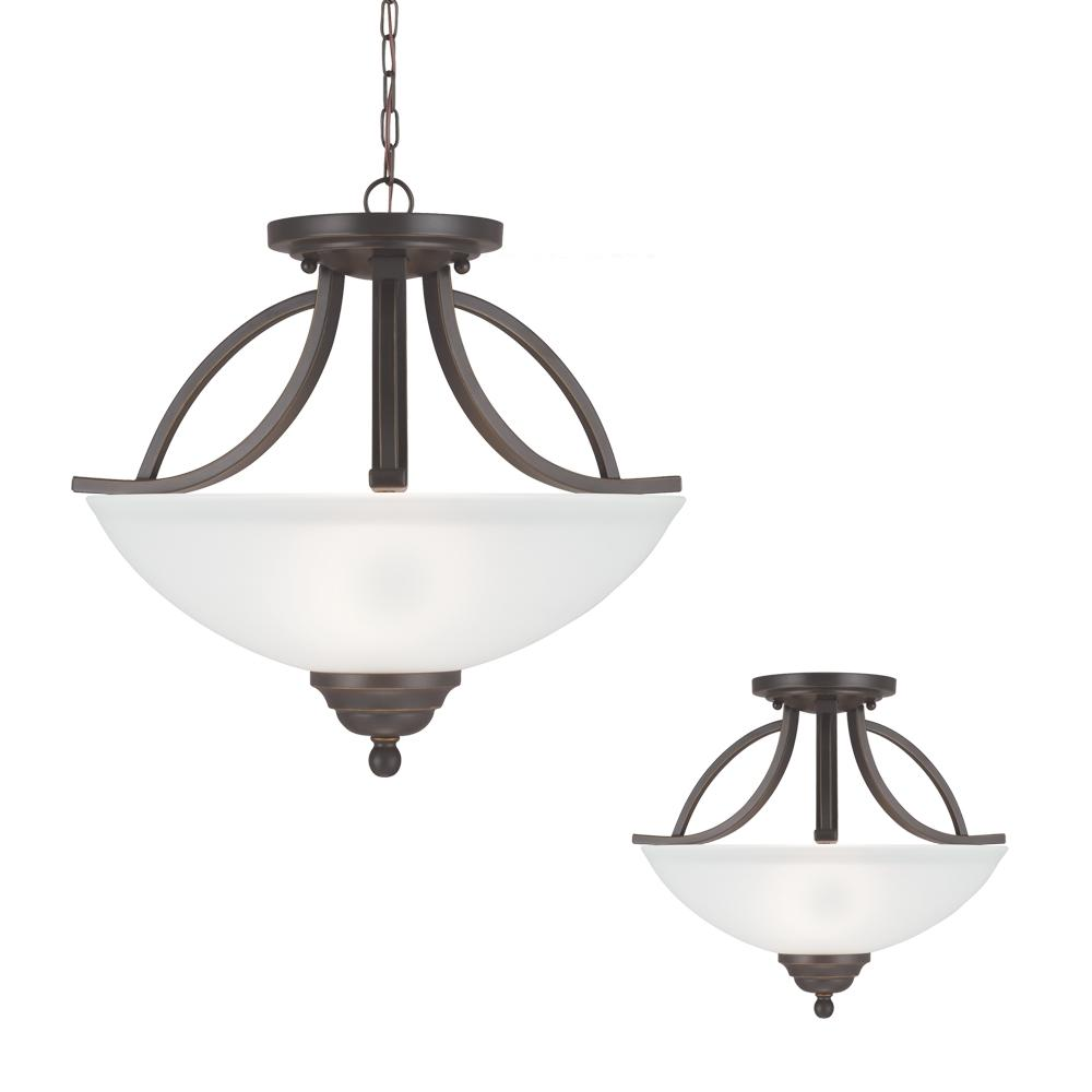 Vitelli Two Light Semi-Flush Convertible Pendant in Autumn Bronze with Satin Etched Glass