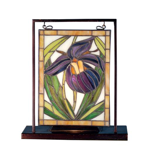"Wolberg Electrical Supply Inc in Albany, New York, United States, Meyda Tiffany 68351, 9.5""W X 10.5""H Lady Slippers Lighted Mini Tabletop Window, Lady Slippers"