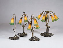 "Meyda Tiffany 13595 - 16""H Amber/Green Pond Lily 3 LT Accent Lamp"