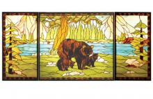"Meyda Tiffany 20121 - 69.875""W X 32.375""H Bear Creek Stained Glass Window"