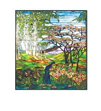 "Meyda Tiffany 29653 - 48""W X 54""H Waterfall, Iris & Birch Stained Glass Window"