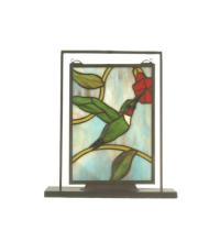 "Meyda Tiffany 52312 - 9.5""W X 10.5""H Hummingbird Lighted Mini Tabletop Window"