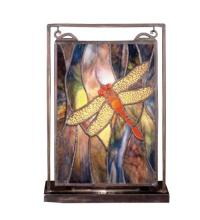 "Meyda Tiffany 56831 - 9.5""W X 10.5""H Dragonfly Lighted Mini Tabletop Window"