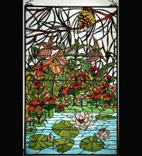 "Meyda Tiffany 77661 - 30""W X 48""H Woodland LilyPond Stained Glass Window"