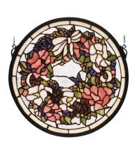 "Meyda Tiffany 79836 - 15""W X 15""H Wreath Stained Glass Window"