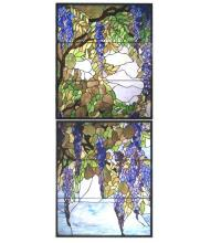 "Meyda Tiffany 98047 - 30""W X 72""H Tiffany Wisteria & Snowball Custom Stained Glass Window"